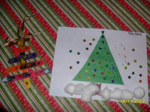 Popsicle Stick Tree & Christmas Scene